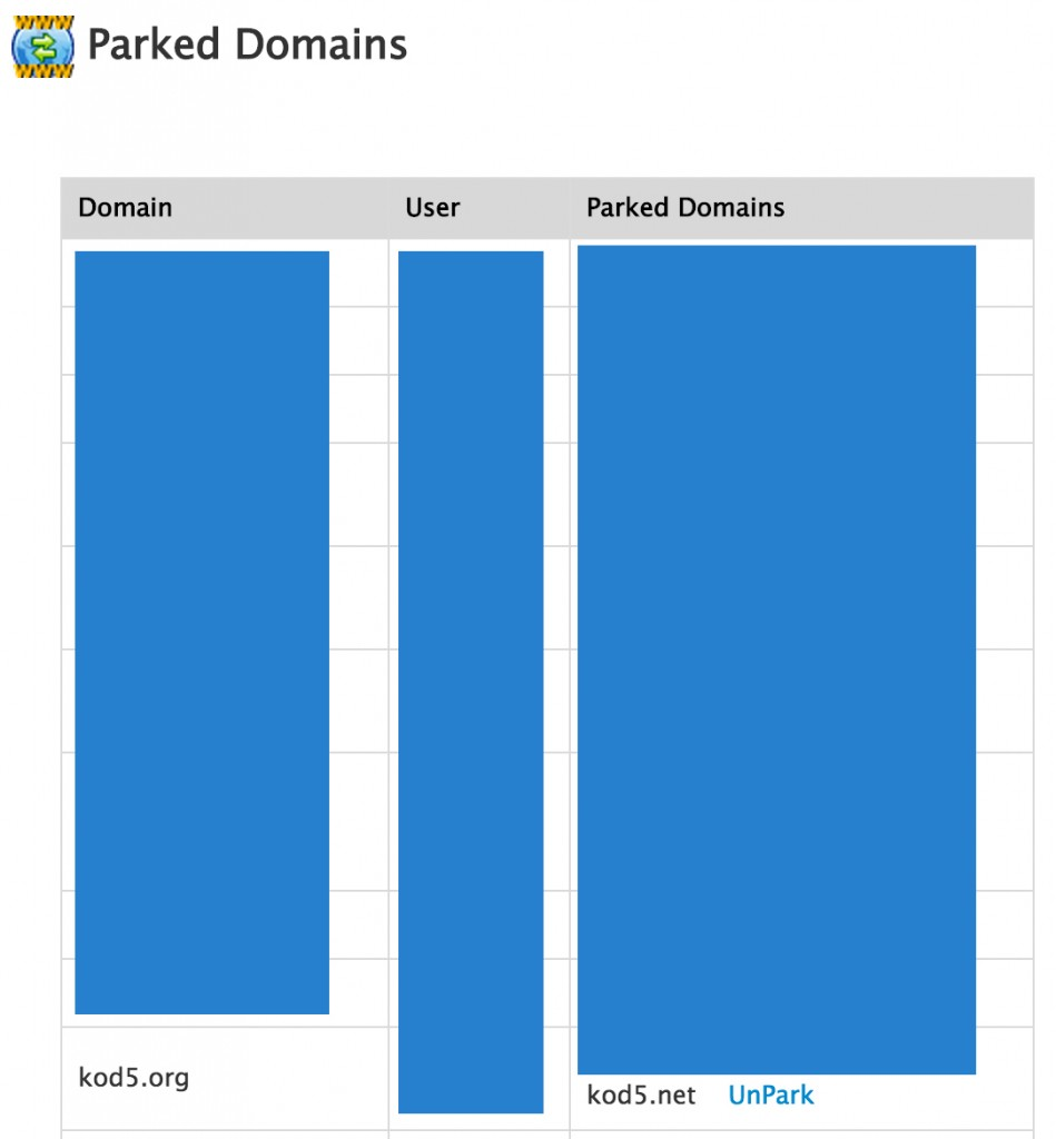 whm-parked-domains
